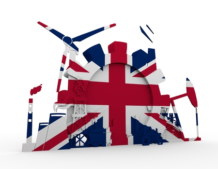 heavy set: Energy and Power icons set with Britain flag. Sustainable energy generation and heavy industry. 3D rendering Stock Photo