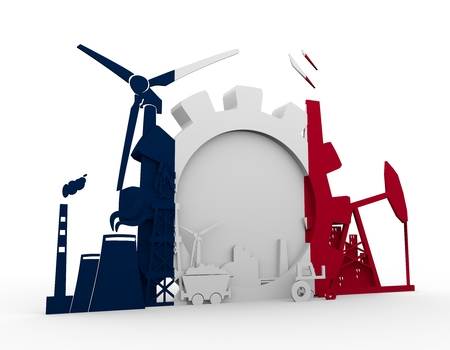 Energy and Power icons set with France flag. Sustainable energy generation and heavy industry. 3D rendering Stock Photo