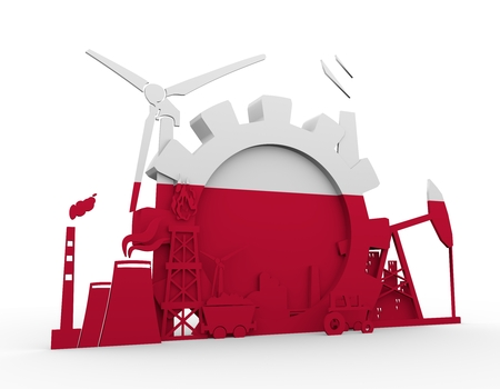 heavy set: Energy and Power icons set with Poland flag. Sustainable energy generation and heavy industry. 3D rendering.