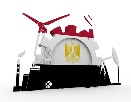 Energy and Power icons set with Egypt flag. Sustainable energy generation and heavy industry. 3D rendering.