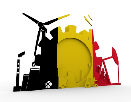Energy and Power icons set with Belgium flag. Sustainable energy generation and heavy industry. 3D rendering.