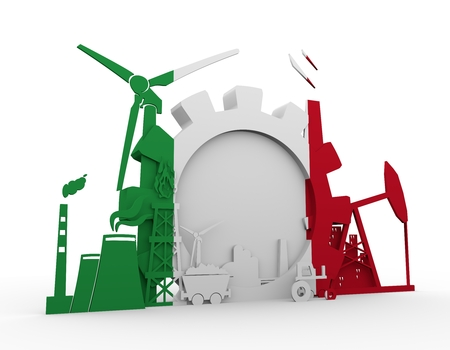 heavy set: Energy and Power icons set with Itay flag. Sustainable energy generation and heavy industry. 3D rendering.