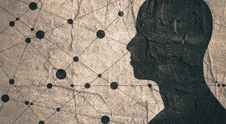 Silhouette of a man's head. Mental health relative brochure, report or book cover design template. Scientific medical designs. . Concrete textured