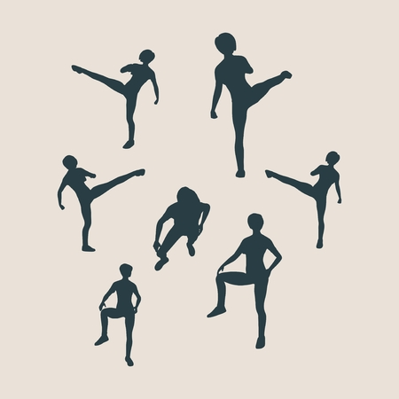 self defense: Martial arts active women self defense fighters silhouettes. Vector illustration. Sport fugures collection Illustration