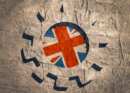 precision: 3D cog wheel with Britain flag. Precision machinery relative backdrop. Concrete textured