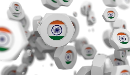 rivet metal: Nuts levitation group with flag of the India. Shallow depth of focus. 3D rendering