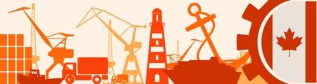 docks: Cargo port relative icons set. Canada flag in gear. Vector illustration for web banner or header
