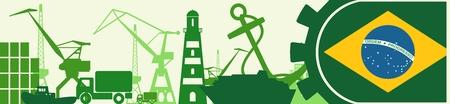 docks: Cargo port relative icons set. Brazil flag in gear. Vector illustration for web banner or header