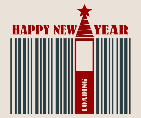 New Year and Christmas celebration card template. Happy New Year text. Bar code with 2017 number and loading bar. Vector illustration relative to holiday sales