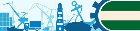 Cargo port relative icons set. Rotterdam flag in gear.  illustration for web banner or header