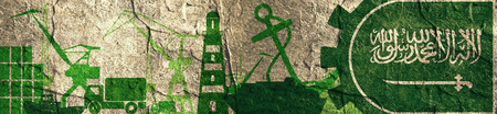 Cargo port relative icons set. Saudi Arabia flag in gear. Concrete textured illustration for web banner or header