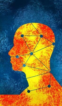 man's: Silhouette of a mans head. Mental health relative brochure, report design. Scientific medical designs. Grunge brush drawing