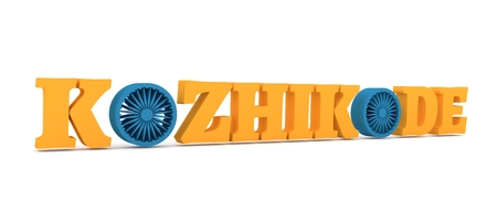 Image relative to India travel industry. Kozhikode city name with flag colors styled letter O. 3D rendering.
