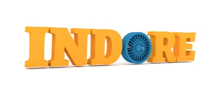 Image relative to India travel industry. Indore city name with flag colors styled letter O. 3D rendering.