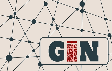 gin: Suitable for poster, promotional leaflet, invitation, banner or magazine cover. Molecule And Communication Background. Unusual font. Connected lines with dots. Gin text