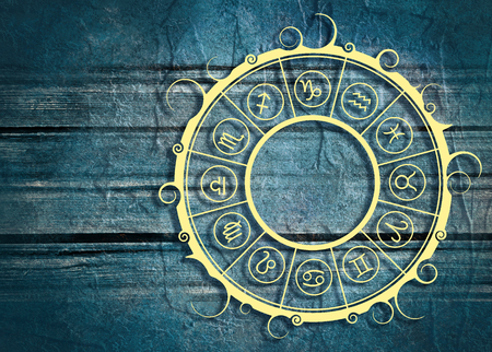 augury: Astrological symbols in the circle. Concrete wall textured