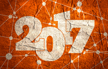 New Year and Christmas relative illustration. 2017 year number. Grunge textured backdrop. Connected lines with dots.