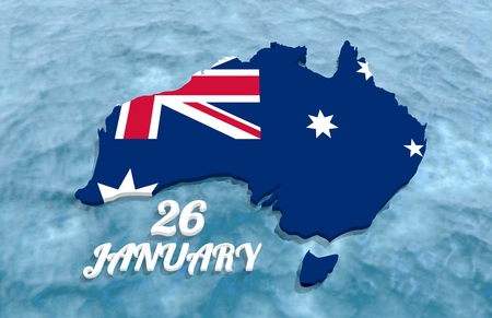 Map of Australia textured by national flag. 26 January text. 3D rendering Stock Photo