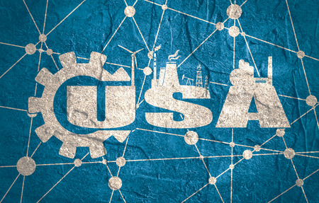 USA word build in gear. Heavy industry relative image. Molecule And Communication Background. Grunge textured backdrop. Connected lines with dots.