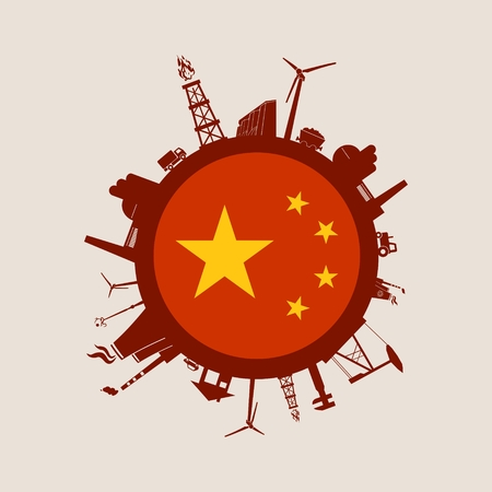 Circle with industry relative silhouettes. Vector illustration. Objects located around the circle. Industrial design background. China flag in the center.
