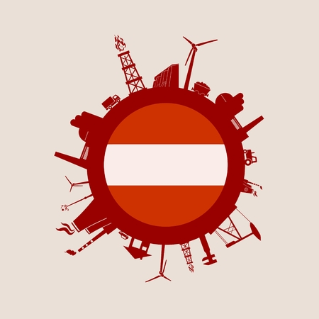 Circle with industry relative silhouettes. Vector illustration. Objects located around the circle. Industrial design background. Austria flag in the center.