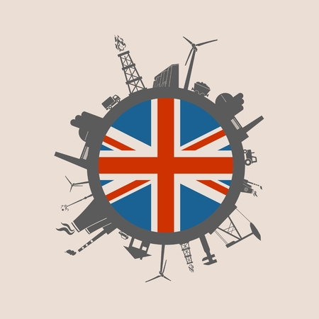 Circle with industry relative silhouettes. Vector illustration. Objects located around the circle. Industrial design background. Britain flag in the center.