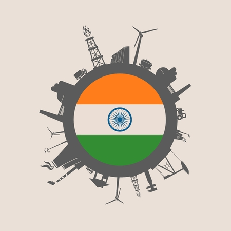 clean energy: Circle with industry relative silhouettes. Vector illustration. Objects located around the circle. Industrial design background. India flag in the center. Illustration