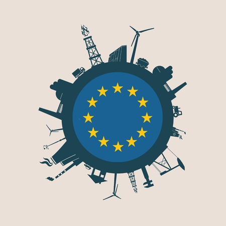 Circle with industry relative silhouettes. Vector illustration. Objects located around the circle. Industrial design background. Europe flag in the center. Illustration