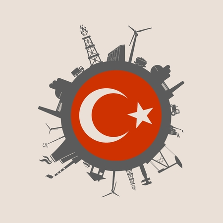 Circle with industry relative silhouettes. Vector illustration. Objects located around the circle. Industrial design background. Turkey flag in the center. Illustration