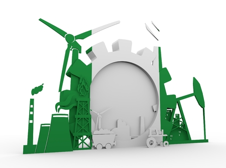 heavy set: Energy and Power icons set with Nigeria flag. Sustainable energy generation and heavy industry. 3D rendering