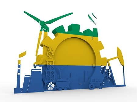 Energy and Power icons set with Gabon flag. Sustainable energy generation and heavy industry. 3D rendering Stock Photo