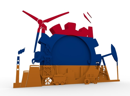 Energy and Power icons set with Armenia flag. Sustainable energy generation and heavy industry. 3D rendering