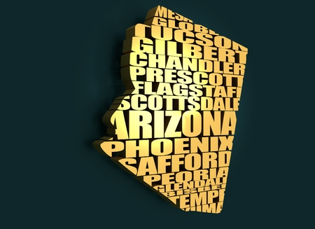 gilbert: Word cloud map of Arizona state. Cities list collage. Golden material. 3D rendering Stock Photo
