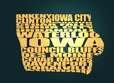 Word cloud map of Iowa state. Cities list collage. Golden material. 3D rendering