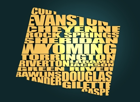 river rock: Word cloud map of Wyoming state. Cities list collage. Golden material. 3D rendering Stock Photo