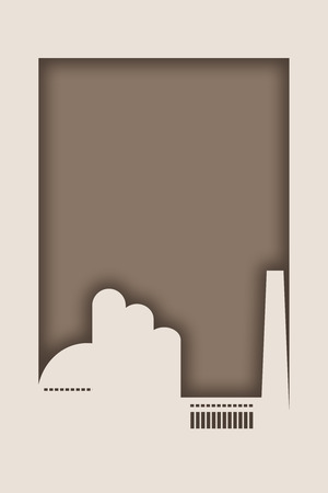 Industrial style frame. Paper cutout factory silhouette