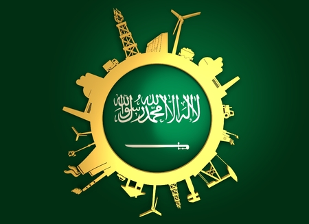 Circle with industry relative silhouettes. Objects located around the circle. Industrial design background. Saudi Arabia flag in the center. Golden material. 3D rendering Imagens
