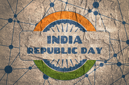 Indian Republic day concept with text India republic day. Modern brochure, report or flyer design template. Scientific design. Connected lines with dots. Round India flag. Grunge texture Stock Photo