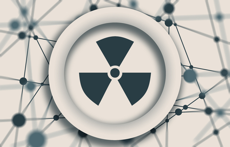 Nuclear danger sign. Molecule And Communication Background. Connected lines with dots. White circle with shadows. Shallow depth of field