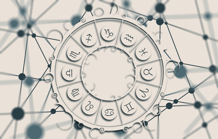 augury: Astrological symbols in the circle. Molecule And Communication Background. Connected lines with dots. White circle with shadows. Shallow depth of field Stock Photo
