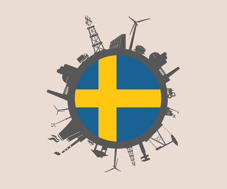 Circle with industry relative silhouettes. Vector illustration. Objects located around the circle. Industrial design background. Sweden flag in the center. Illustration