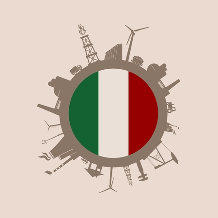Circle with industry relative silhouettes. Vector illustration. Objects located around the circle. Industrial design background. Italy flag in the center. Illustration