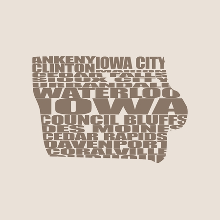 davenport: Word cloud map of Iowa state. Cities list collage