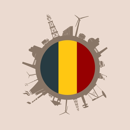 Circle with industry relative silhouettes. Vector illustration. Objects located around the circle. Industrial design background. Belgium flag in the center.