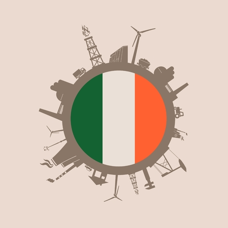 Circle with industry relative silhouettes. Vector illustration. Objects located around the circle. Industrial design background. Ireland flag in the center.