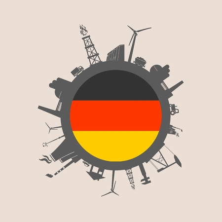 Circle with industry relative silhouettes. Vector illustration. Objects located around the circle. Industrial design background. Germany flag in the center. Illustration