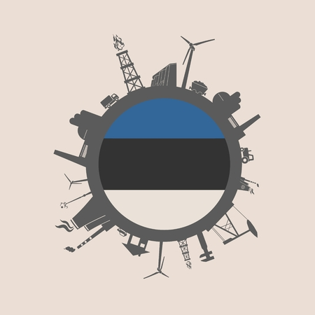Circle with industry relative silhouettes. Vector illustration. Objects located around the circle. Industrial design background. Estonia flag in the center.