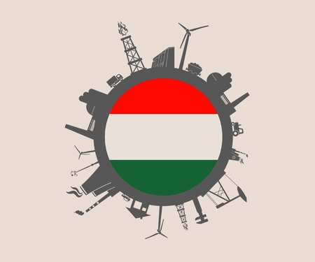 Circle with industry relative silhouettes. Vector illustration. Objects located around the circle. Industrial design background. Hungary flag in the center. Illustration