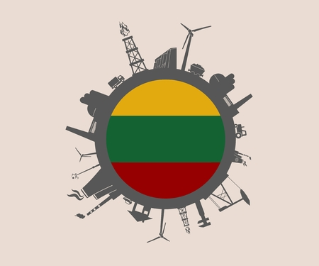 Circle with industry relative silhouettes. Vector illustration. Objects located around the circle. Industrial design background. Lithuania flag in the center. Illustration