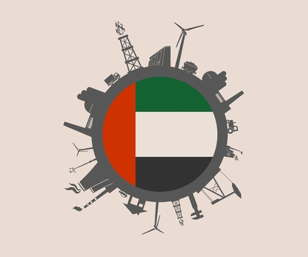 Circle with industry relative silhouettes. Vector illustration. Objects located around the circle. Industrial design background. Unitad Arab Emirates flag in the center. Illustration